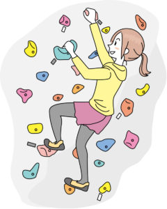 ボルダリングする女性のイラスト