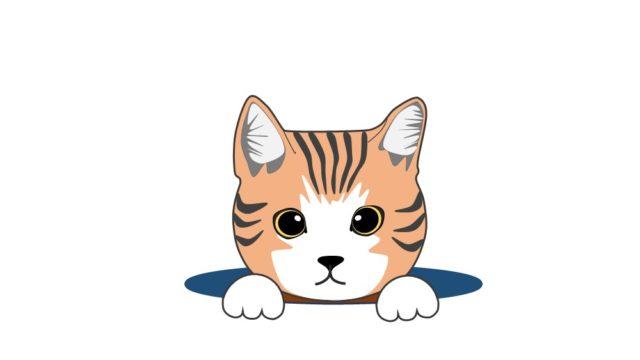 穴から顔を出す猫のイラスト