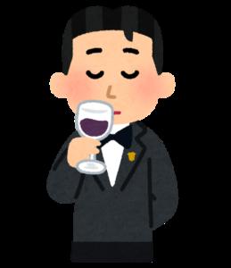 ワインのテイスティングのイラスト(男性)