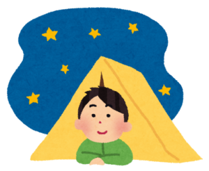 テントを張ったキャンプのイラスト(男性)