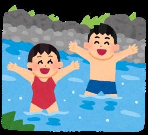 川遊びをする人たちのイラスト
