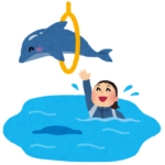 イルカのショーのイラスト