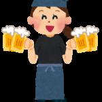 居酒屋・飲食店の店員のイラスト「ビールを運ぶ店員さん」