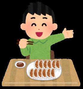 餃子を食べる人のイラスト(男性)
