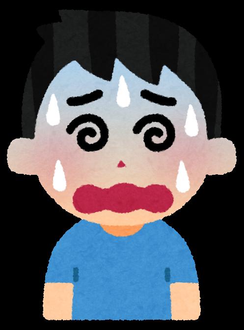 5段階の困る表情のイラスト(男性)