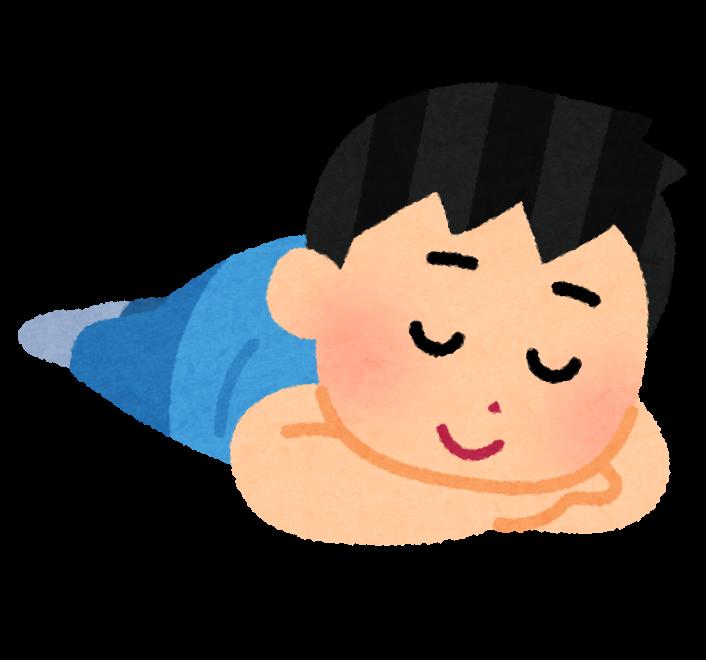 うつ伏せで寝る人のイラスト(男性)
