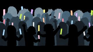 歓声をあげる観客のシルエットのイラスト(ペンライト)