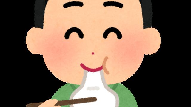 お餅を食べる人のイラスト(男性)