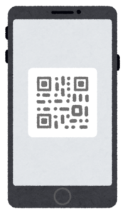 バーコード・QRコードが表示されたスマートフォンのイラスト