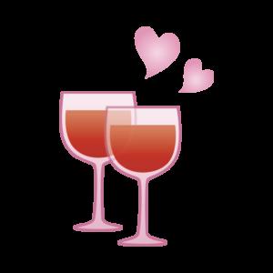 ペアのワイングラスのイラスト