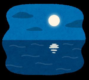 夜の海のイラスト