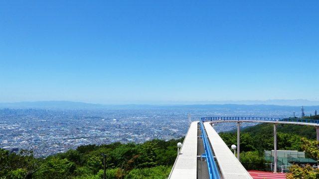 生駒山上遊園地 サイクルモノレールからみた大阪平野