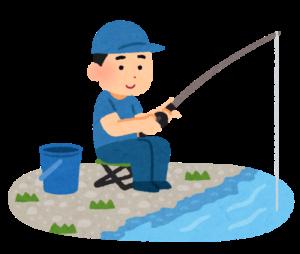 魚釣りをしている人のイラスト(川)