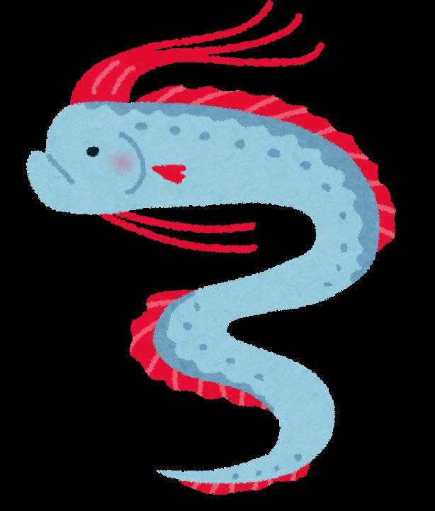 リュウグウノツカイのイラスト(深海魚)