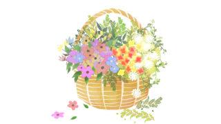 花かごのイラスト