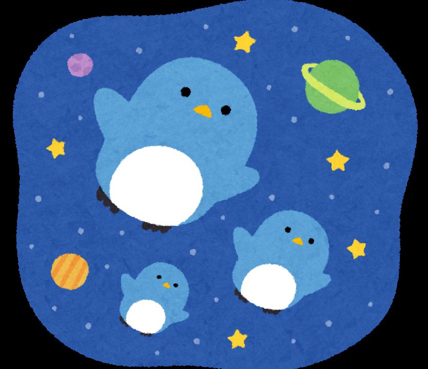 宇宙ペンギンのイラスト